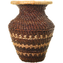 Authentic Hand Woven Apache Tribe Basket Vase 33690