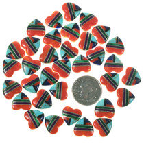 Inlay Mosaic Turquoise Heart Cabochons