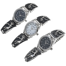 Navajo Overlaid Silver Ladies Watch 33692