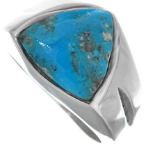 Native American Turquoise Silver Mens Ring 33810
