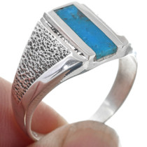Textured Sterling Silver Inlay Turquoise Ring 33818