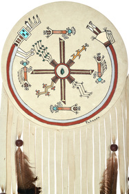 Native American Hand Painted Leather Medicine Shield 33824