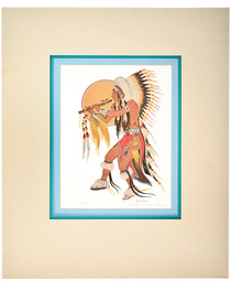 Vintage Indian Flute Dancer Signed Print 33825
