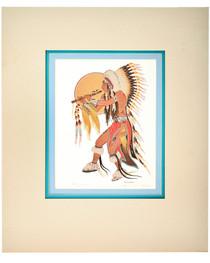 Vintage Indian Flute Dancer Signed Print 33825