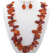 Vintage Amber Beaded Necklace Set 33827
