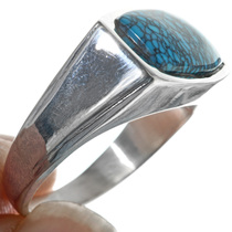 Navajo Turquoise Sterling Silver Mens Ring 33835