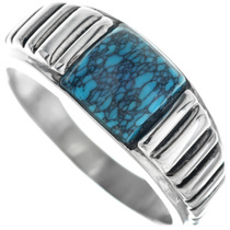 Spiderweb Turquoise Silver Navajo Ring 33836
