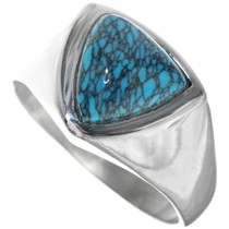 Native American Spiderweb Turquoise Mens Ring 33839