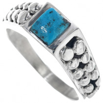 Mens Turquoise Silver Navajo Ring 33845