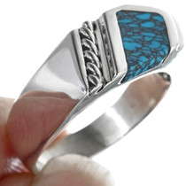 Blue Spiderweb Turquoise Ring 33846