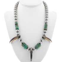 Old Pawn Turquoise Bear Claw Necklace 33848