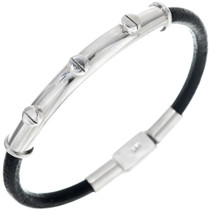Sterling Silver Leather Bracelet 33858