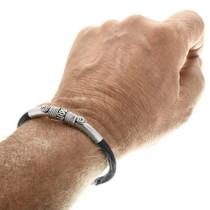 Comfortable Leather Silver Bracelet 33858