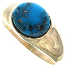 Vintage Turquoise 14K Gold Mens Ring 33900