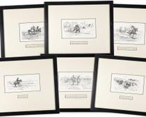 Vintage Charles Russell Framed Woodblock Prints 33911