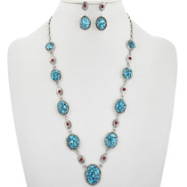 Navajo Spiderweb Turquoise Coral Necklace 33851
