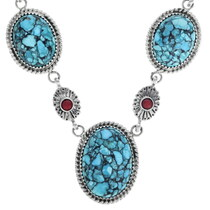 Native American Turquoise Necklace Earrings Set 33851