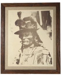 Vintage Chief Looking Glass Signed Print 33914