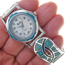 Zuni Hummingbird Pattern Turquoise Watch 33918