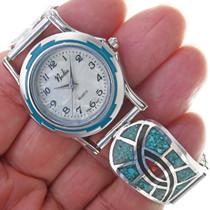 Zuni Hummingbird Pattern Turquoise Watch 33918