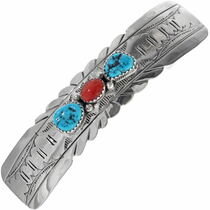 Turquoise Coral Hair Barrette 19327