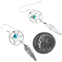 Navajo Dreamcatcher Turquoise Silver Earring 33937