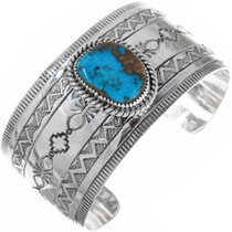Genuine Turquoise Silver Navajo Cuff Bracelet 33949