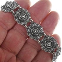 Vintage Floral Silver Link Bracelet 33951