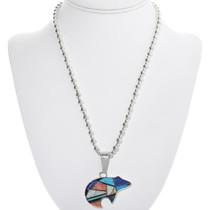 Native American Turquoise Opal Bear Pendant 33968