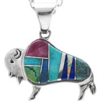 Turquoise Opal Silver Buffalo Pendant 33969