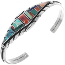 Inlaid Turquoise Opal Silver Bracelet 33970