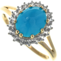 Vintage Turquoise Diamond Gold Ring 33980