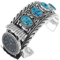 Old Pawn Turquoise Silver Watch Cuff 33982