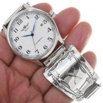 Silver Crossed Arrows Navajo Made Watch 33994