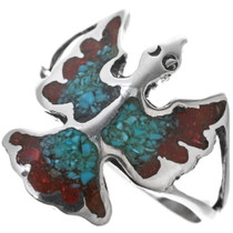 Navajo Turquoise Coral Bird Ring 34013
