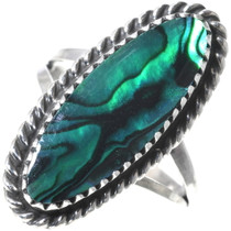 Navajo Green Paua Shell Ring 34019