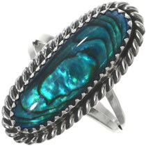 Blue Paua Shell Silver Ring 34020