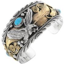 Navajo Gold Silver Turquoise Eagle Bracelet 34040