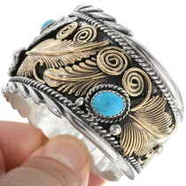 Turquoise Gold Silver Eagle Bracelet 34040