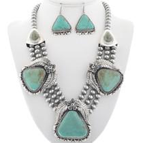 Navajo Genuine Turquoise Necklace Set 29450