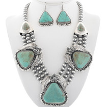 Navajo Genuine Turquoise Necklace Set 29450