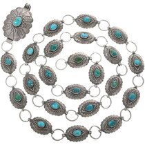 Vintage Turquoise Link Concho Belt 34046