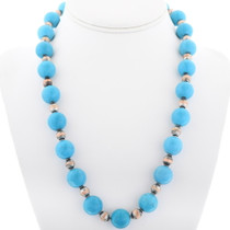 Navajo Turquoise Magnesite Bead Necklace 34058