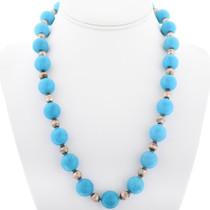 Navajo Turquoise Magnesite Bead Necklace 34058