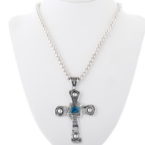 Navajo Cross Pendant With Bead Necklace 34060