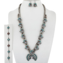 Inlay Turquoise Squash Blossom Necklace 34061
