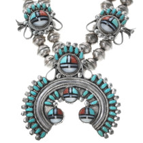 Old Pawn Zuni Sunface Squash Blossom Necklace Set 34061