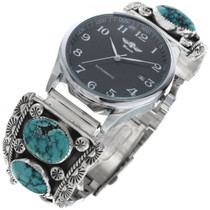Vintage Navajo Silver Turquoise Watch 34062