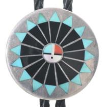 Vintage Zuni Inlaid Silver Bolo Tie  34063