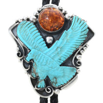 Hand Carved Turquoise Eagle Bolo Tie with Amber Moon 34604